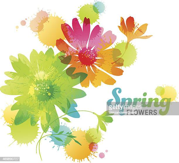 spring flowers - springtime stock illustrations, clip art, cartoons, & icons
