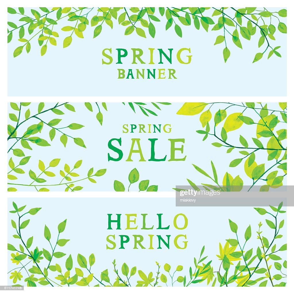 Spring foliage banners : Vector Art