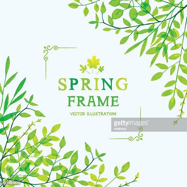 spring foliage corners - lush stock illustrations
