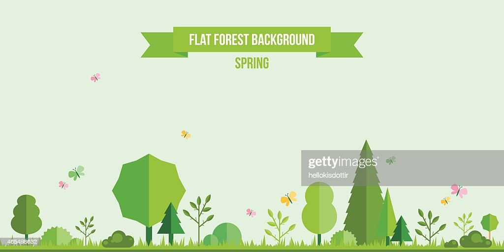 Spring forest flat background