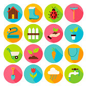 Spring Garden Circle Icons Set with long Shadow