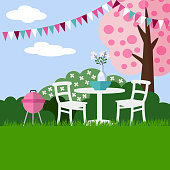 Spring garden party barbecue background with blossoming cherry tree, vector