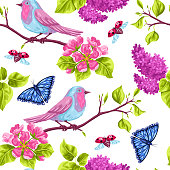 Spring garden seamless pattern. Natural illustration with blossom flower, robin birdie and butterfly