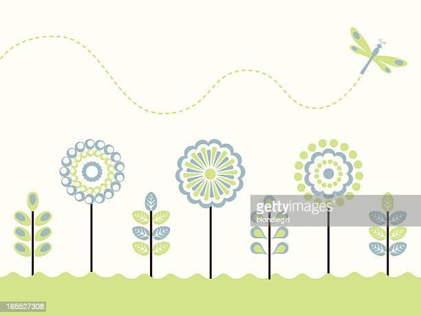 spring garden - odonata stock illustrations, clip art, cartoons, & icons