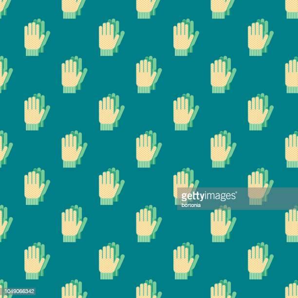 spring gardening gloves seamless pattern - gardening glove stock illustrations, clip art, cartoons, & icons