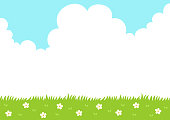 Spring grass with sky background