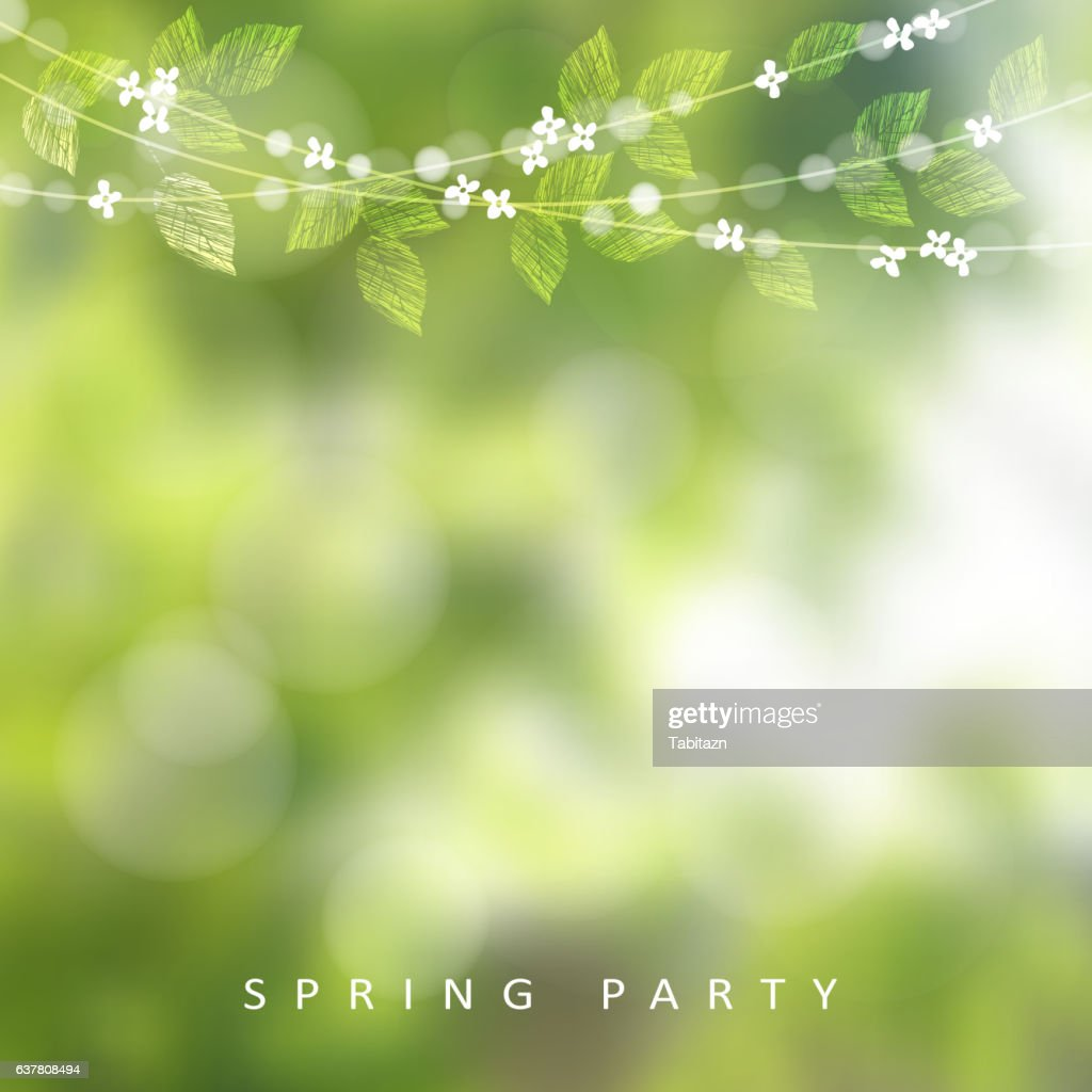 Spring greeting card. String of lights, leaves, cherry tree blossoms.