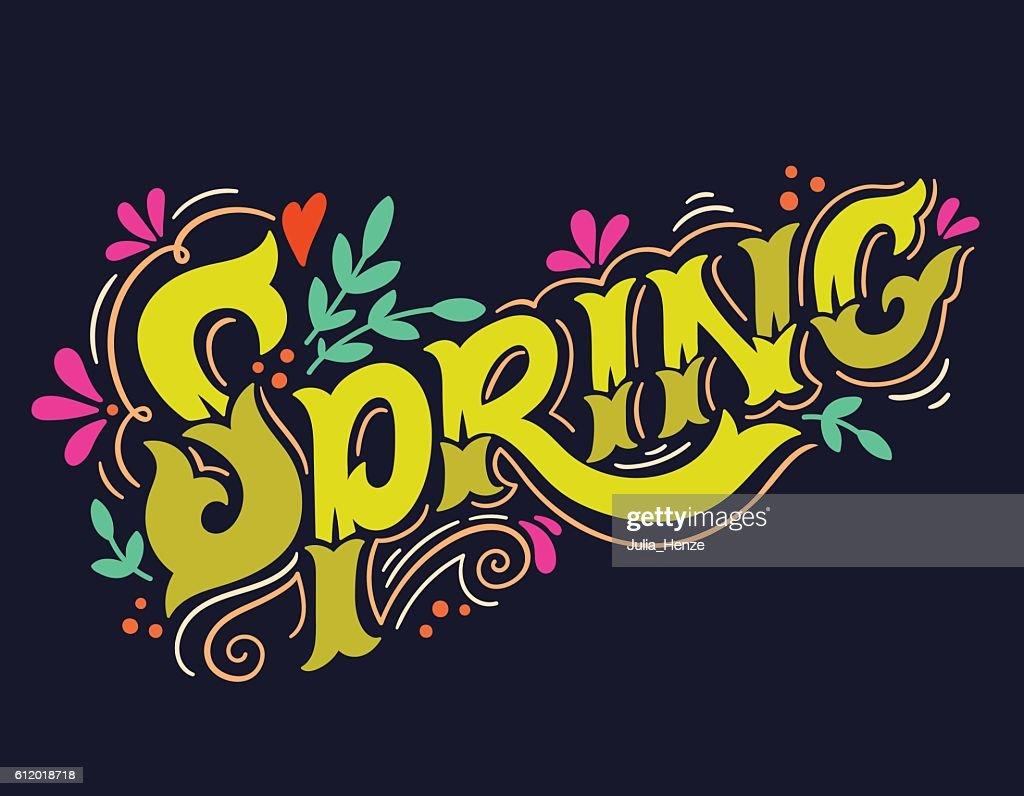 Spring. Hand drawn vintage lettering with floral decoration elem