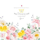 Spring hydrangea, rose, peony, orchid, daffodil vector design ca