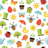 Spring Icons Seamless Pattern
