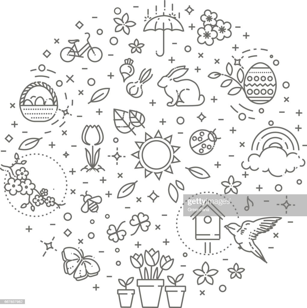 Spring icons set. Spring Garden, Flowers and Gardening Equipment