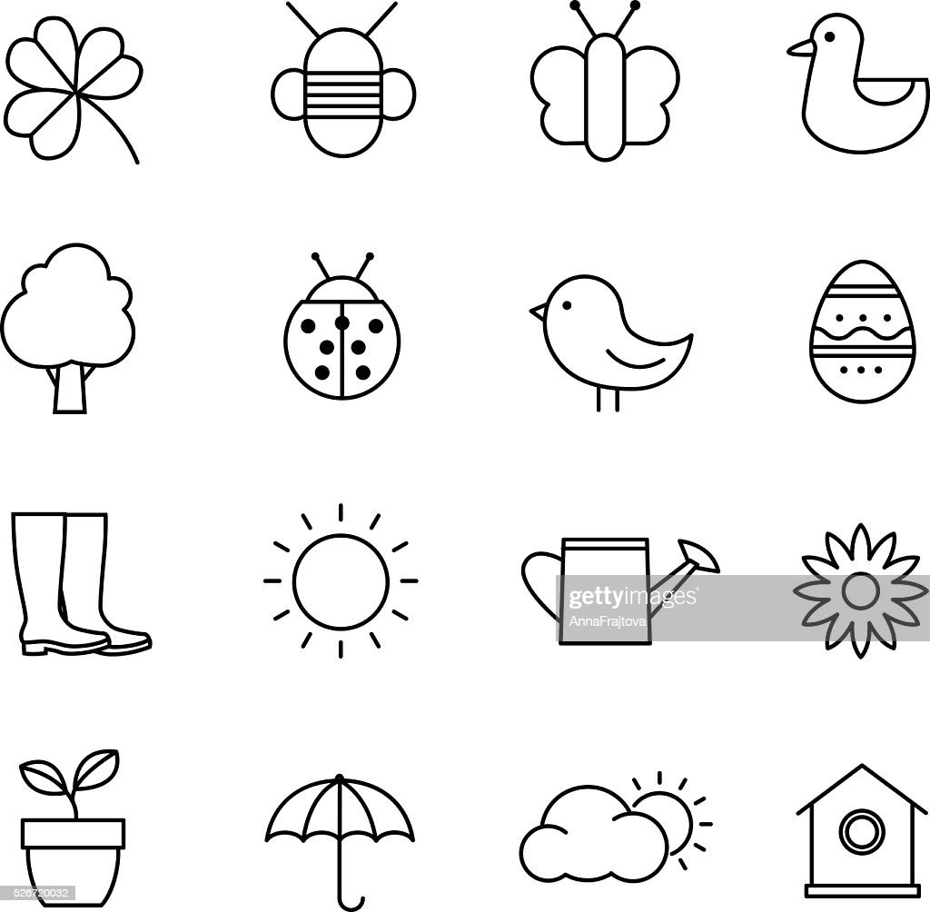 Spring Icons - Thin Lines Design
