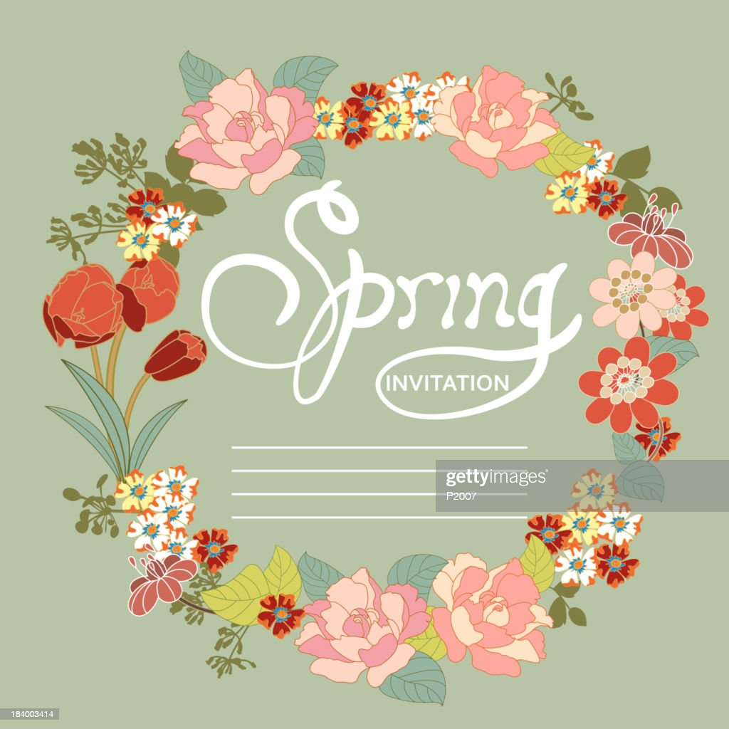 Spring invitation vector art getty images spring invitation vector art stopboris Choice Image