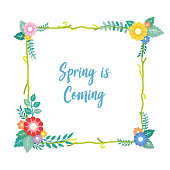 Spring is Coming Text with Frame of Bouquet Flower Arrangement and Leaf Ornament. Greeting Card, Background, Poster, Banner Template.