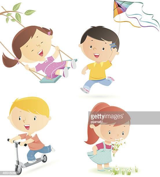 spring kids - kite toy stock illustrations, clip art, cartoons, & icons