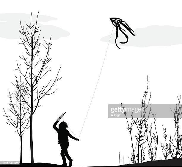 Spring Kite Vector Silhouette