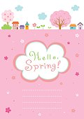 Spring landscape background with cute frame template.