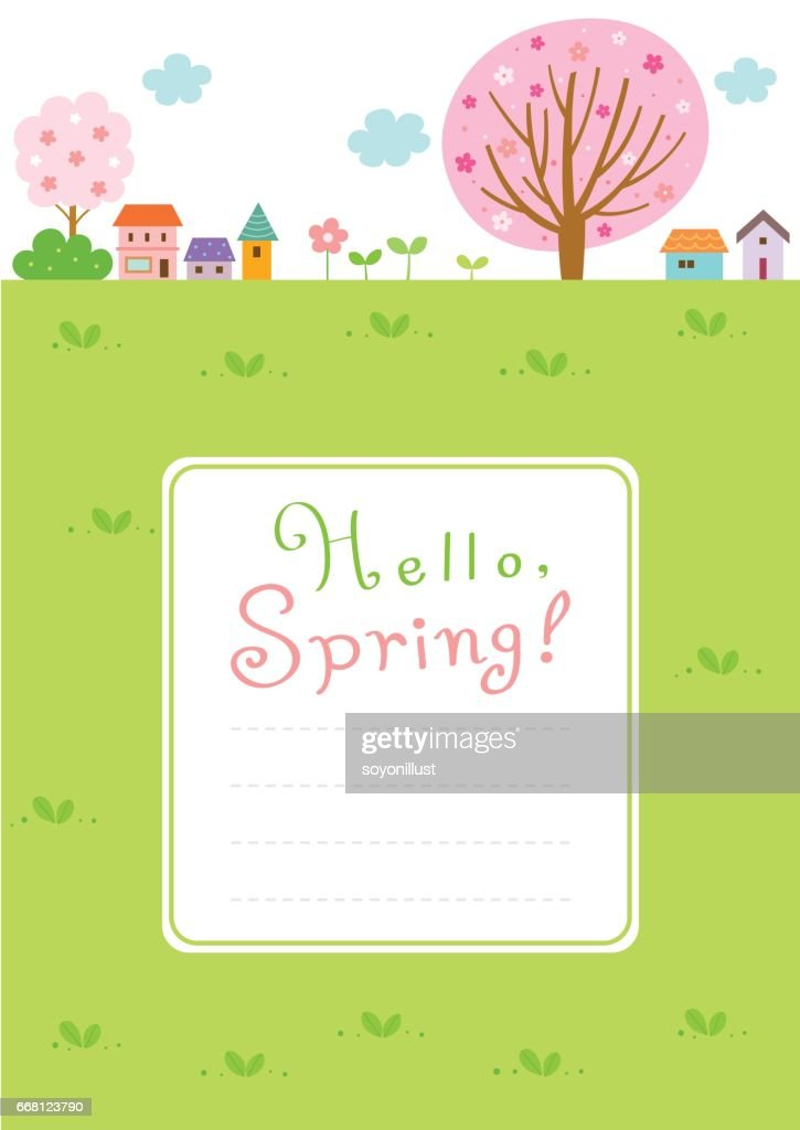 Spring landscape background with frame template