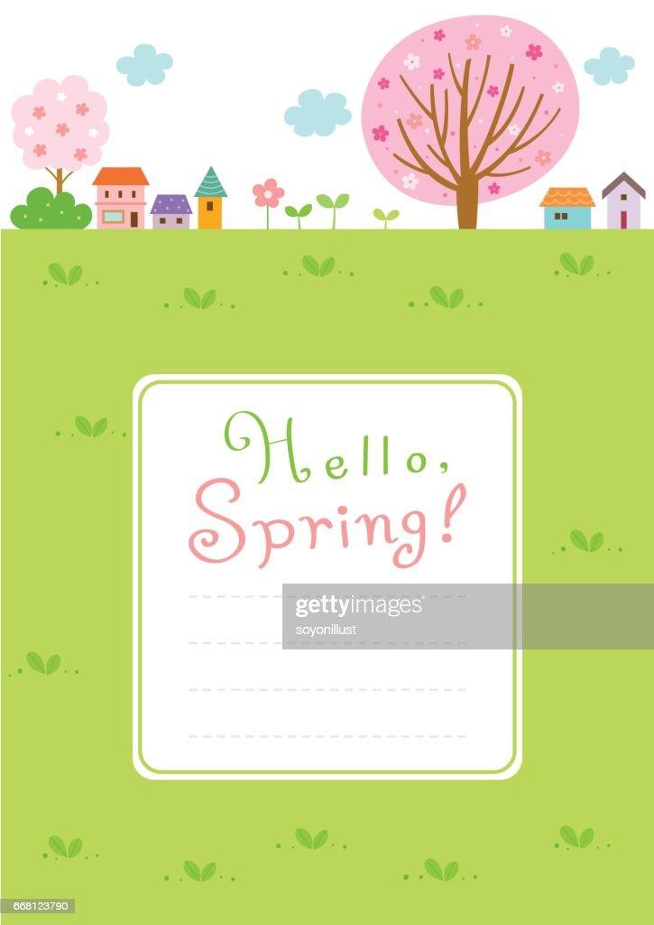Spring landscape background with frame template