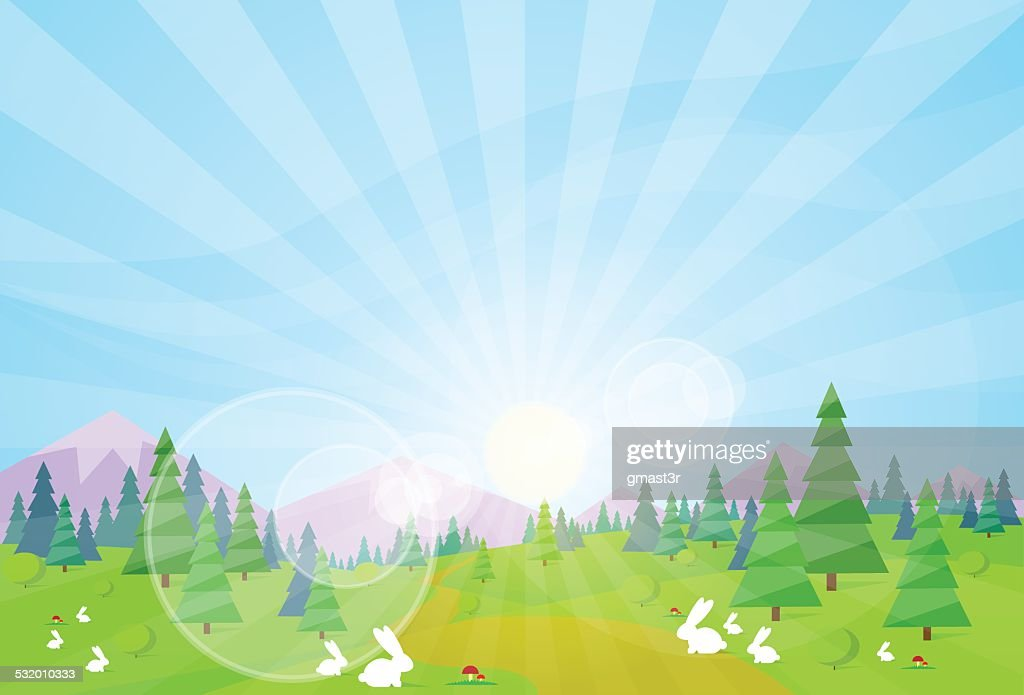 spring landscape green grass tree rabbit blue sky sun
