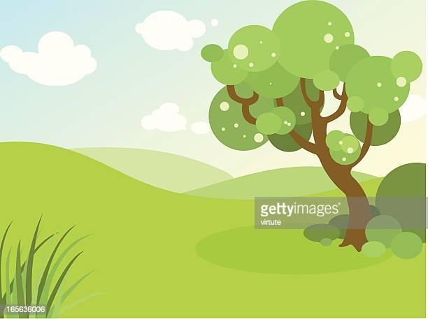 spring landscape - rolling landscape stock illustrations
