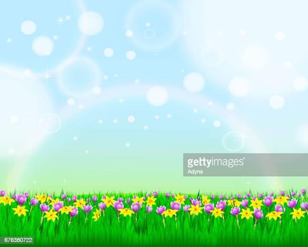 spring landscape - narcissus mythological character stock illustrations, clip art, cartoons, & icons