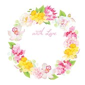 Spring leaves and flowers vector design round frame with daffodi