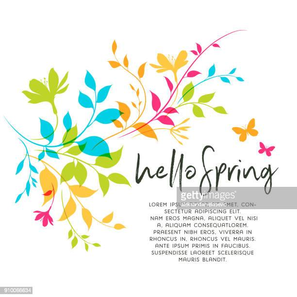 spring leaves and flowers - flower stock illustrations