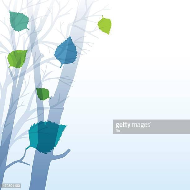 spring leaves background - tree bark stock illustrations, clip art, cartoons, & icons