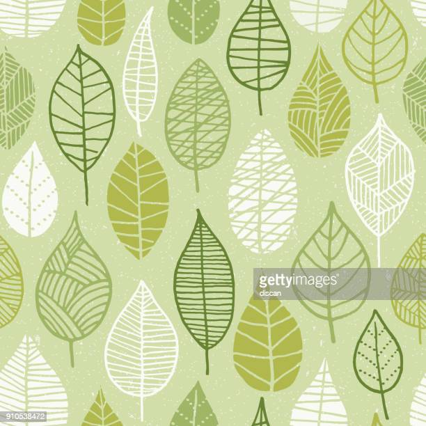 spring leaves seamless pattern. - natur stock-grafiken, -clipart, -cartoons und -symbole