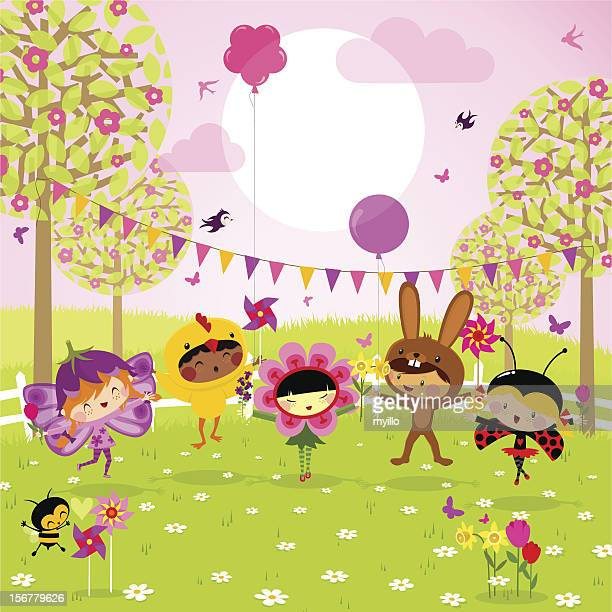spring party. fun kids. - easter bunny stock illustrations