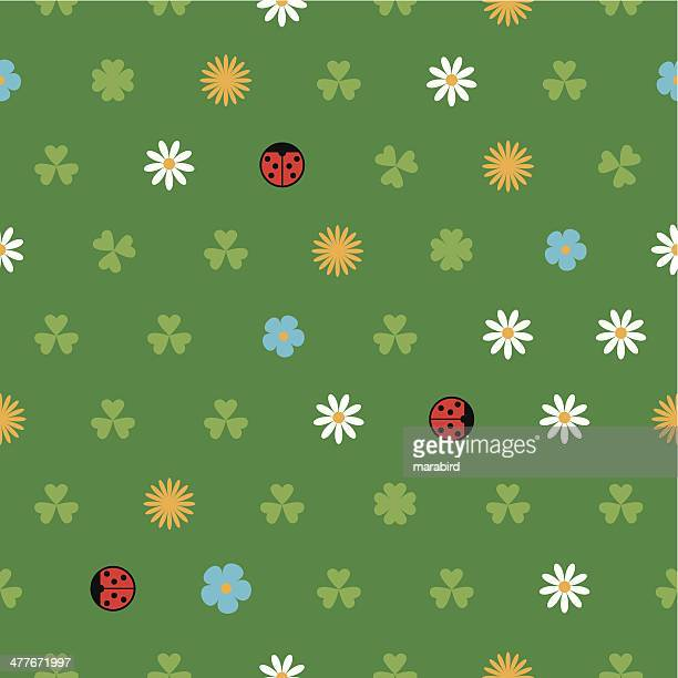illustrations, cliparts, dessins animés et icônes de motif de printemps - coccinelle