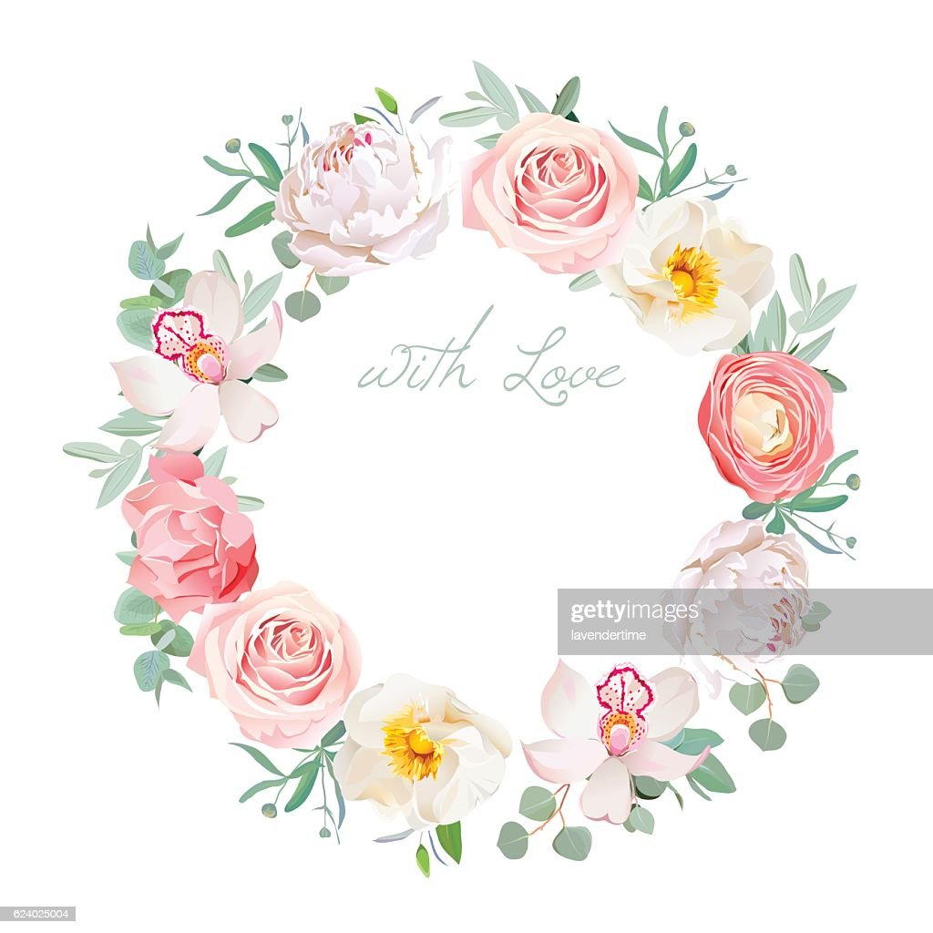 Spring peony, rose, ranunculus, orchid, carnation round vector design frame