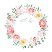 Spring peony, rose, ranunculus, orchid, carnation round vector design frame