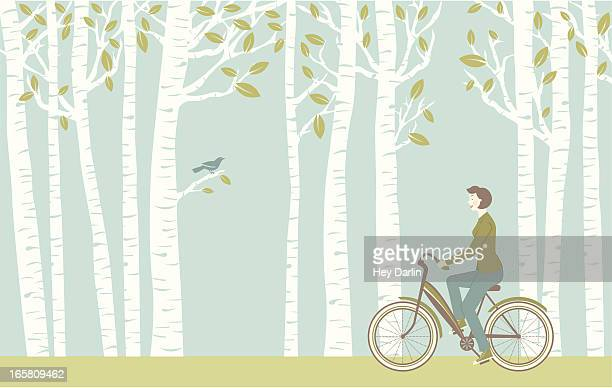 spring ride - bicycle stock illustrations