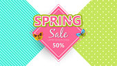 Spring sale background banner with beautiful colorful butterfly. Vector illustration.