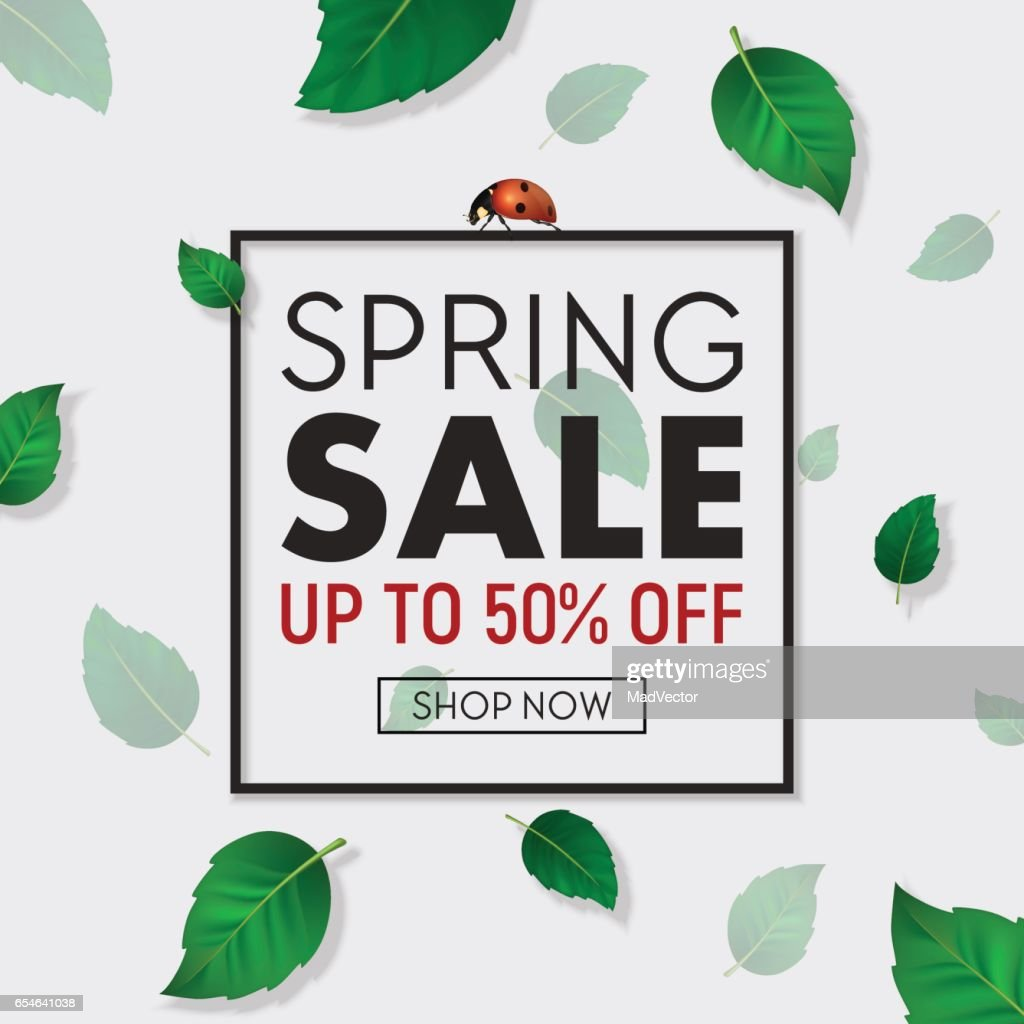 Spring Sale Background Banner With Frame Beautiful Green Leaves And Ladybug Design Template For Online Store Flyer Poster Shopping Selling Sign Discount Marketing Web Header Etc Eps10 High Res Vector Graphic Getty