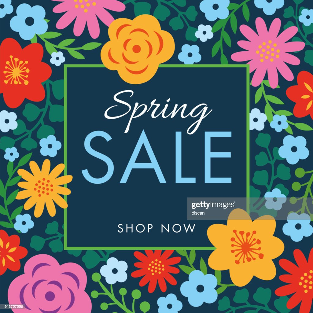 Spring sale background with flowers frame. : stock illustration