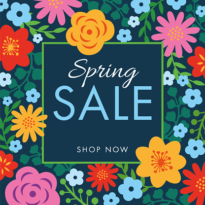 Spring sale background with flowers frame. - gettyimageskorea