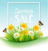 Spring sale background with grass, flowers and a butterfly. Vector.
