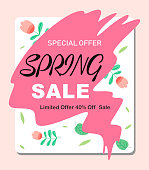 Spring sale background with vintage leaves and flowers. Vector illustration