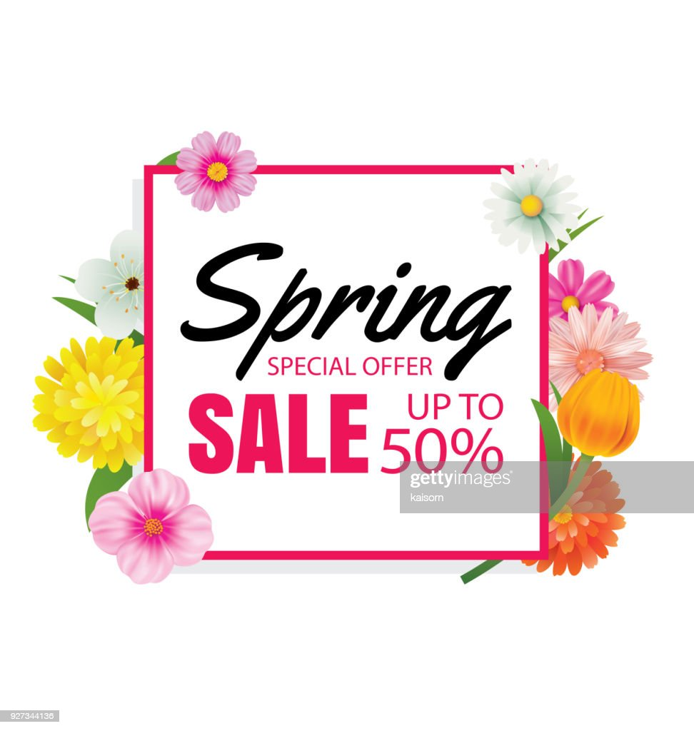 Spring Sale Banner Card Template With Colorful Flower Frame ...