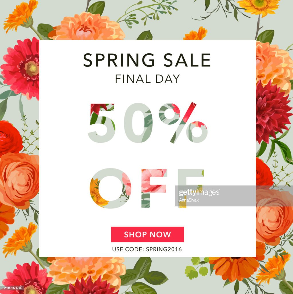 Spring Sale Banner. Sale background. Big sale. Floral Sale Tag