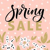 Spring sale banner template with blossom flowers and modern brush calligraphy for online shopping, vector illustration.