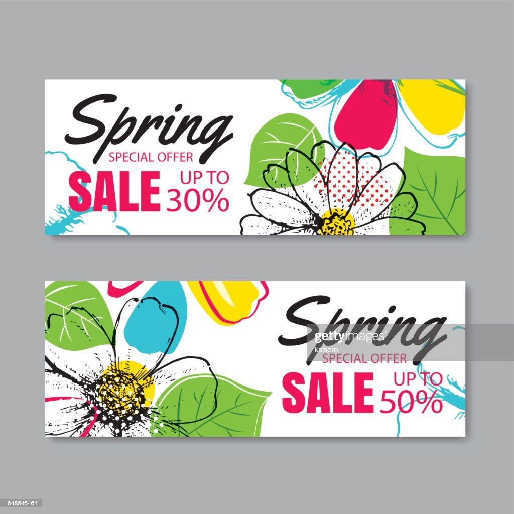 Spring sale banner template with colorful flower.Can be use voucher, wallpaper,flyers, invitation, posters, brochure, coupon discount.