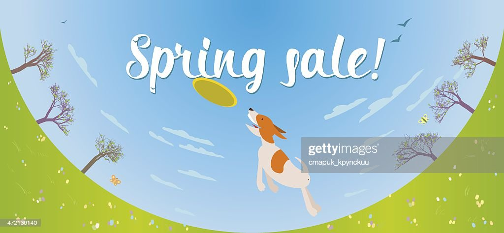 Spring sale banner with dog cathing frisbee