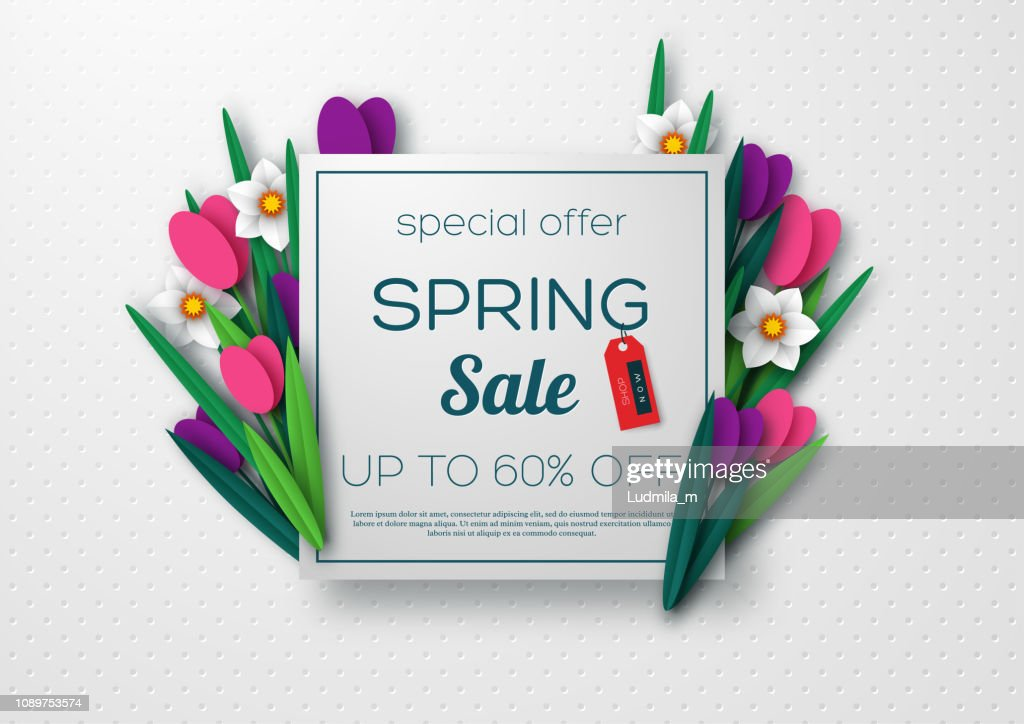 Spring sale banner with paper cut flowers.