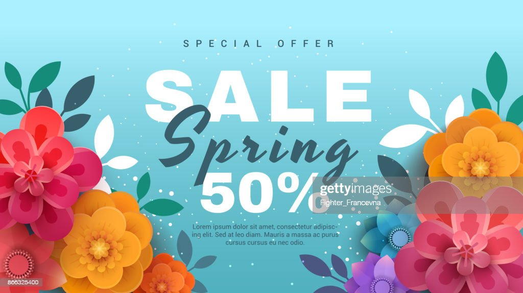 Spring sale banner with paper flowers on a blue background.
