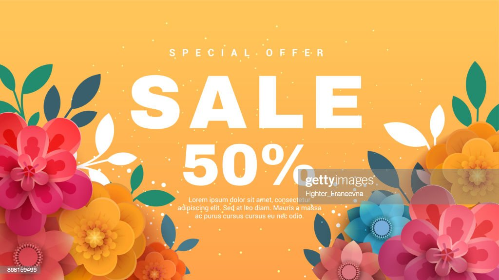 Spring sale banner with paper flowers on a yellow background.