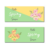 Spring sale banners poster tag design. Design with Colorful Flowers in Background for Seasonal Promotion. Voucher template. Hand typography art. Vector illustration